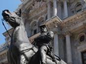 English: General George B. McClellan in front of Philadelphia City hall.