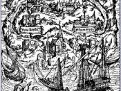 English: Woodcut by Ambrosius Holbein for the 1518 edition of Thomas More's Utopia Deutsch: Holzschnitt von Ambrosius Holbein für die Ausgabe von 1518 von Thomas Morus' Buch Utopia