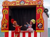 A traditional Punch and Judy booth.