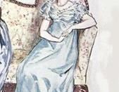 English: Detail of C. E. Brock illustration for the 1909 edition of Jane Austen last Novel Persuasion showing Anne Elliot on a sofa. (ch 8) Français : Détail d'une illustration de C. E. Brock pour l'édition de 1909 de Persuasion (ch 8)