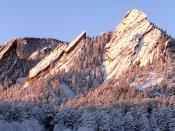 The Flatirons rock formations, near Boulder, Colorado.
