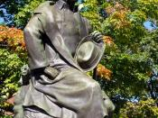 Statue of Nathaniel Hawthorne by sculptor Bela Pratt (1867–1917), in Salem, Massachusetts, USA. Copyright (if any) has expired on this image, as the sculptor died more than 70 years ago.