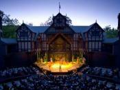 The thrust stage of the Elizabethan-style theatre at the Oregon Shakespeare Festival