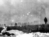 British infantry from the 47th (1/2nd London) Division advancing into a gas cloud during the Battle of Loos