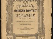 English: A scan of the cover of the April, 1846 issue of Graham's Magazine, published in Philadelphia by George R. Graham, containing the essay