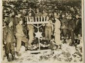 Soldiers celebrating Hanukah outside in Korea