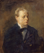 Sir Winston Leonard Spencer Churchill, by Ambrose McEvoy (died 1927). See source website for additional information. This set of images was gathered by User:Dcoetzee from the National Portrait Gallery, London website using a special tool. All images in th