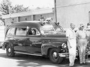 Early car-based ambulances like this 1948 Cadillac Meteor were sometimes also used as hearses.