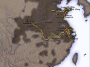 English: Qin Shi Huang tours Русский: Карта предпринятых Цинь Шихуанди инспекционных поездок по Китаю.