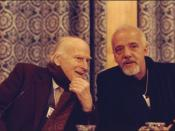 Yehudi Menuhin & Paulo Coelho Violinist Yehudi Menuhin and author Paulo Coelho captured at the Annual Meeting 1999 of the World Economic Forum held in Davos, Switzerland.