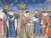 Clerks studying astronomy and geometry. France, early 15th century.