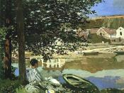 On the Bank of the Seine, Bennecourt (1868), an early example of plein-air impressionism, in which a gestural and suggestive use of oil paint was presented as a finished work of art.
