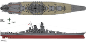 Drawing of IJN Superbattleship Yamato in her final configuration on April the 7th 1945.