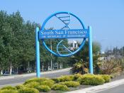 English: Genentech has sponsored these DNA-themed gateway signs throughout South San Francisco, which declare the city to be the
