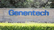 A sign at Genentech headquarters in South San Francisco, California.
