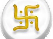 Symbol of Jainism, white and golden version.