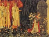 The Attainment: The Vision of the Holy Grail to Sir Galahad, Sir Bors, and Sir Perceval (also known as The Achievement of the Grail or The Achievement of Sir Galahad, accompanied by Sir Bors, and Sir Perceval). , Number 6 of the woven by Morris & Co. 1891