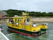 The Scilly Isles Ambulance Service alongside Tresco quay.