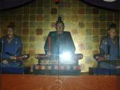 wooden statue of Nakamura Kazutada and his vassal who followed one's lord to the grave Tarui Kageyu and Hattori Wakasa in Kannoji Yonago, Tottori, Japan