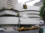 The front of the Guggenheim Museum from 5th Avenue New York City