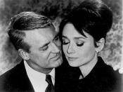 Screenshot from Charade showing Cary Grant and Audrey Hepburn.