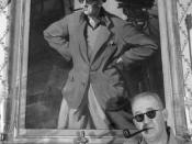 English: Director John Ford standing before portrait of himself and Academy Award statue, circa 1946