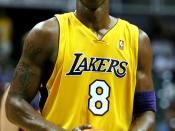 English: Kobe Bryant, Lakers shooting guard, stands ready to shoot a free throw during Tuesday nights pre-season game against the Golden State Warriors. Bryant was essential in bringing together a large point gap late in the second quarter, after the Warr