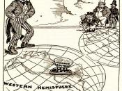 English: Newspaper cartoon from 1912 about the Monroe Doctrine