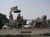 English: bronze chariot of Lord Krishna and Arjuna at Kurukshetra