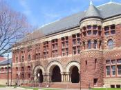 Photograph of front facade, Austin Hall, Harvard Law School, Harvard University, Cambridge, Massachusetts, USA.
