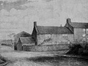 Photograph of a drawing of Joseph Priestley's birthplace