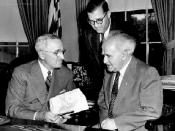 English: President Truman meeting on May 8, 1951 with Prime Minister David Ben Gurion of Israel and Abba Eban. Truman Library photograph http://www.trumanlibrary.org/israel/591584.jpg