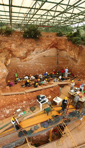 Excavations at the site of Gran Dolina, in Atapuerca (Spain), during 2008. Panoramic photography formed using 3 individual photographies with Hugin software. TD-10 archaeological level is being excavated where the most of the people are. It is a Homo heid