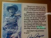 English: Photo of a sign hanging in a Roy Rogers restaurant in New York City