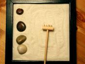 Picture of a Zen garden. Measures approximately 8 inches on each side. Picture taken on March 21, 2004 Released under the GFDL