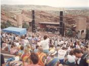 Grateful Dead at Red Rocks with deadheads waiting for concert/show to start