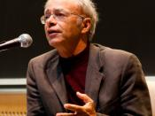 English: Peter Singer speaking at a Veritas Forum event on MIT's campus on Saturday, March 14, 2009. Veritas Forum: http://www.veritas.org/ Photo by Joel Travis Sage: http://www.joelsage.com/