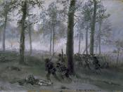 English: Battle of Chickamauga, Confederate line advancing up hill through forest toward Union line. Work by Alfred Waud.