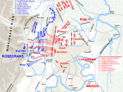 English: Map of Battle of Chickamauga of the American Civil War, actions on September 20, 1863, part 2. Drawn in Adobe Illustrator CS5 by Hal Jespersen. Graphic source file is available at http://www.posix.com/CWmaps/