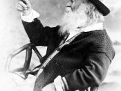 English: Photo of American poet Walt Whitman holding a (fake) butterfly. From Leaves of Grass by Walt Whitman. Published by M. Kennerley, 1897.