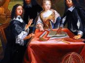 English: Queen Christina of Sweden (left) and René Descartes (right). Detail from René Descartes i samtal med Sveriges drottning, Kristina. Español: Descartes en la Corte de la reina Cristina de Suecia (detalle), Pierre Louis Dumesnil. Museo nacional de V