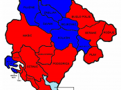 Political map of local self-government in Montenegro; red represents the municipalities controlled by the ruling Democratic Party of Socialists, while the blue is the pro-Serbian opposition