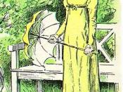 English: Detail of C. E. Brock illustration for the 1895 edition of Jane Austen's novel Pride and Prejudice (Chapter 56) showing Elizabeth Bennet outdoors in