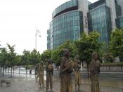 Famine sculpture in front of the International Financial Services Centre, Dublin