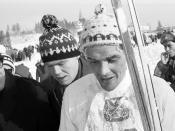 Gjermund Eggen etter 3-mila, VM på ski i Oslo 1966