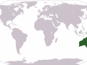 World map showing location of Oceania, (green, right).