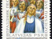English: Postage stamp issued by the Soviet Union 1973 depicting view from song festival in Latvia.