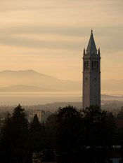 Sather Tower (the Campanile) looking out over the San Francisco Bay and Mount Tamalpais.