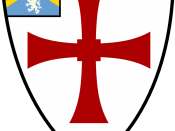 Shield of Durham University: Argent, a cross paty quadrate gules; on a canton azure a chevron or between three lions rampant or.
