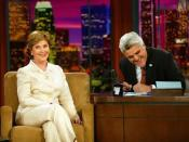 Laura Bush makes an appearance on The Tonight Show with Jay Leno in Burbank, Calif., May 19, 2004.